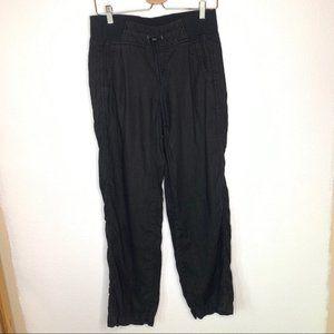 Athleta Cabo Linen Black Flowy Pants Size 4